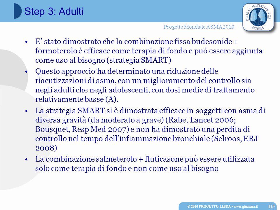 Progetto Mondiale ASMA 2010 E' stato dimostrato che la combinazione fissa budesonide + formoterolo è efficace come terapia di fondo e può essere aggiunta come uso al bisogno (strategia SMART) Questo approccio ha determinato una riduzione delle riacutizzazioni di asma, con un miglioramento del controllo sia negli adulti che negli adolescenti, con dosi medie di trattamento relativamente basse (A).
