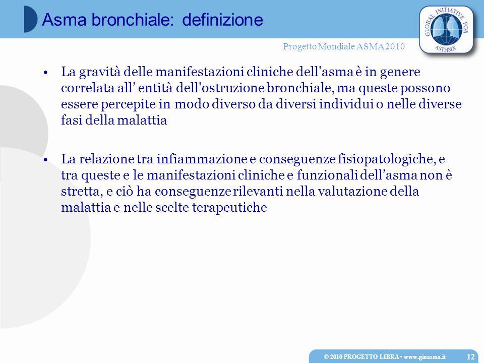 Progetto Mondiale ASMA 2010 La gravità delle manifestazioni cliniche dell'asma è in genere correlata all' entità dell'ostruzione bronchiale, ma queste