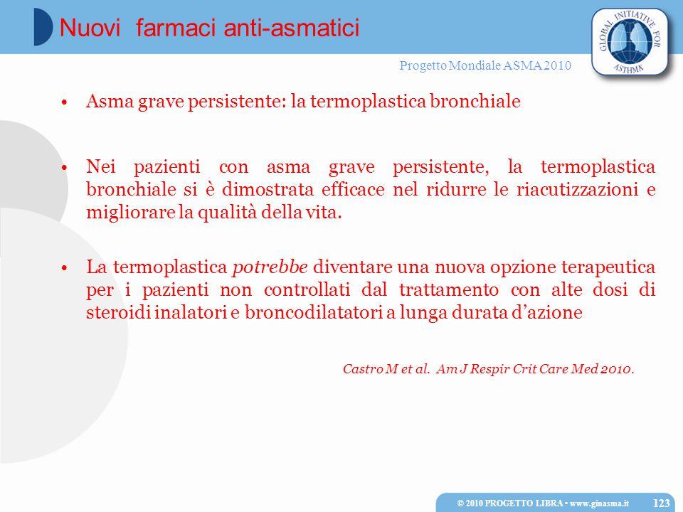 Progetto Mondiale ASMA 2010 Asma grave persistente: la termoplastica bronchiale Nei pazienti con asma grave persistente, la termoplastica bronchiale s