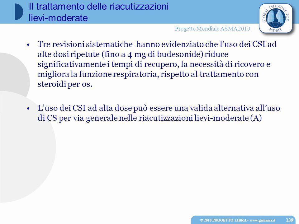 Progetto Mondiale ASMA 2010 Il trattamento delle riacutizzazioni lievi-moderate Tre revisioni sistematiche hanno evidenziato che l'uso dei CSI ad alte