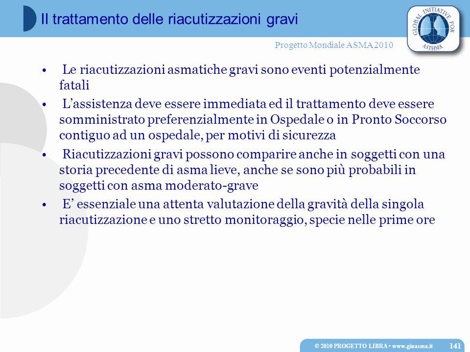 Progetto Mondiale ASMA 2010 Le riacutizzazioni asmatiche gravi sono eventi potenzialmente fatali L'assistenza deve essere immediata ed il trattamento