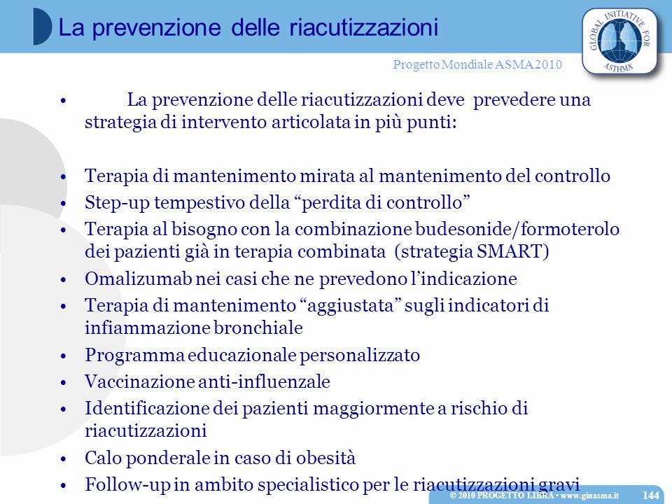 Progetto Mondiale ASMA 2010 La prevenzione delle riacutizzazioni deve prevedere una strategia di intervento articolata in più punti: Terapia di mantenimento mirata al mantenimento del controllo Step-up tempestivo della perdita di controllo Terapia al bisogno con la combinazione budesonide/formoterolo dei pazienti già in terapia combinata (strategia SMART) Omalizumab nei casi che ne prevedono l'indicazione Terapia di mantenimento aggiustata sugli indicatori di infiammazione bronchiale Programma educazionale personalizzato Vaccinazione anti-influenzale Identificazione dei pazienti maggiormente a rischio di riacutizzazioni Calo ponderale in caso di obesità Follow-up in ambito specialistico per le riacutizzazioni gravi © 2010 PROGETTO LIBRA www.ginasma.it 144 La prevenzione delle riacutizzazioni