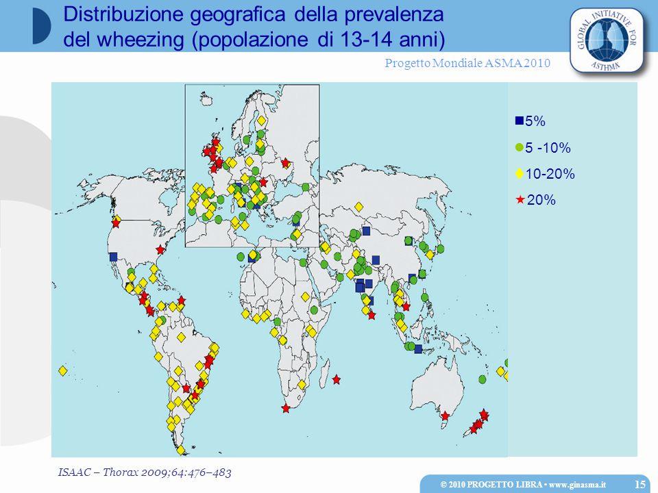Progetto Mondiale ASMA 2010 Distribuzione geografica della prevalenza del wheezing (popolazione di 13-14 anni) © 2010 PROGETTO LIBRA www.ginasma.it 15 5% 5 -10%  10-20%  20% ISAAC – Thorax 2009;64:476–483