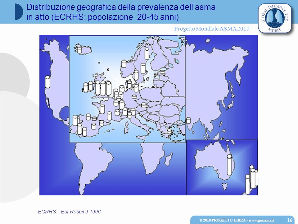 Progetto Mondiale ASMA 2010 ECRHS – Eur Respir J 1996 Distribuzione geografica della prevalenza dell'asma in atto (ECRHS: popolazione 20-45 anni) © 2010 PROGETTO LIBRA www.ginasma.it 16