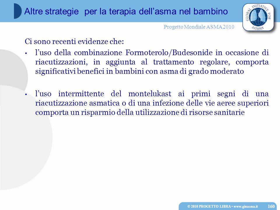 Progetto Mondiale ASMA 2010 Ci sono recenti evidenze che: l'uso della combinazione Formoterolo/Budesonide in occasione di riacutizzazioni, in aggiunta