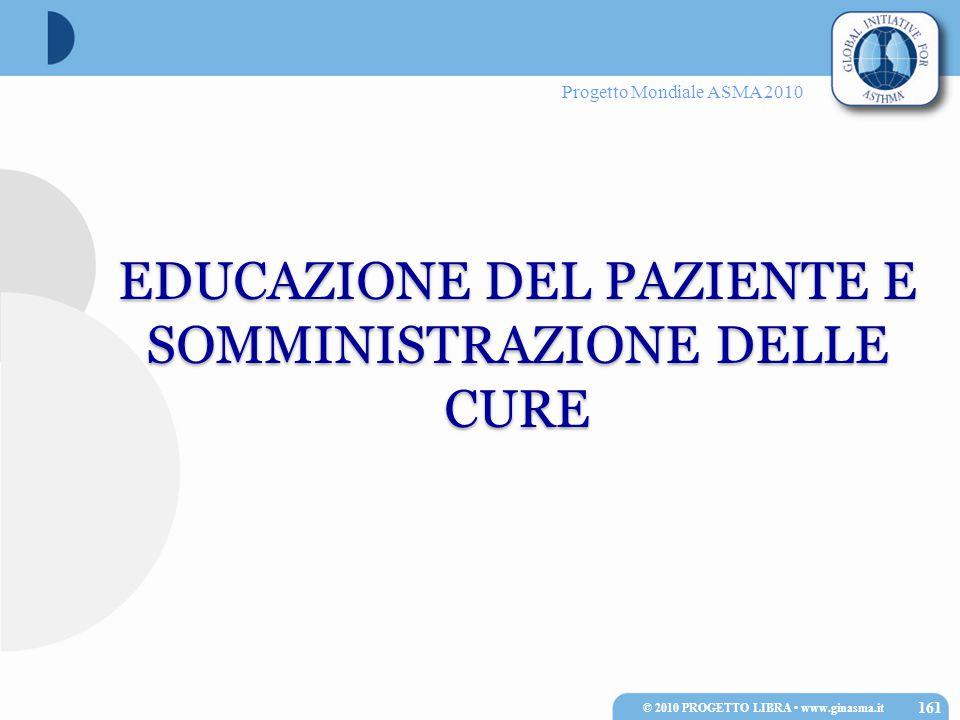 Progetto Mondiale ASMA 2010 EDUCAZIONE DEL PAZIENTE E SOMMINISTRAZIONE DELLE CURE 161 © 2010 PROGETTO LIBRA www.ginasma.it