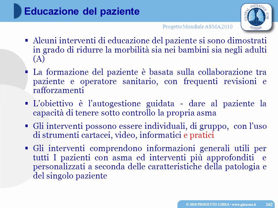 Progetto Mondiale ASMA 2010  Alcuni interventi di educazione del paziente si sono dimostrati in grado di ridurre la morbilità sia nei bambini sia neg