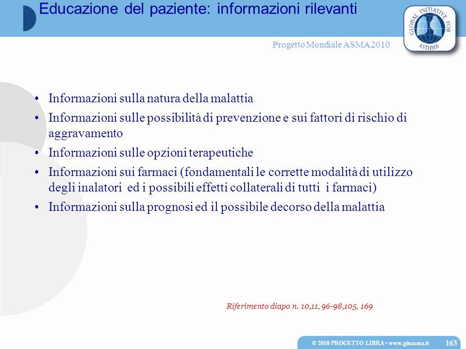 Progetto Mondiale ASMA 2010 © 2010 PROGETTO LIBRA www.ginasma.it 163 Informazioni sulla natura della malattia Informazioni sulle possibilità di preven