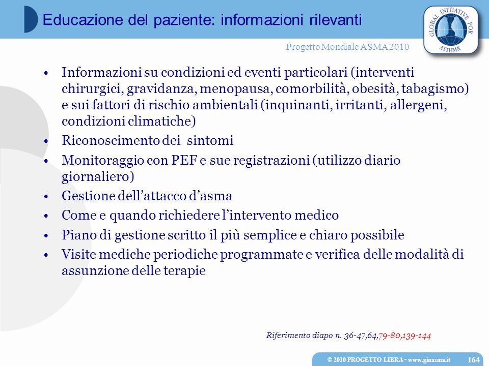 Progetto Mondiale ASMA 2010 Riferimento diapo n. 36-47,64,79-80,139-144 Informazioni su condizioni ed eventi particolari (interventi chirurgici, gravi