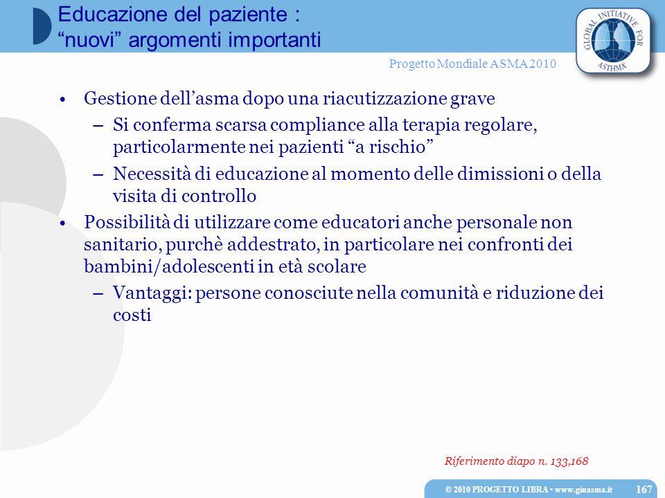Progetto Mondiale ASMA 2010 Riferimento diapo n. 133,168 Gestione dell'asma dopo una riacutizzazione grave –Si conferma scarsa compliance alla terapia
