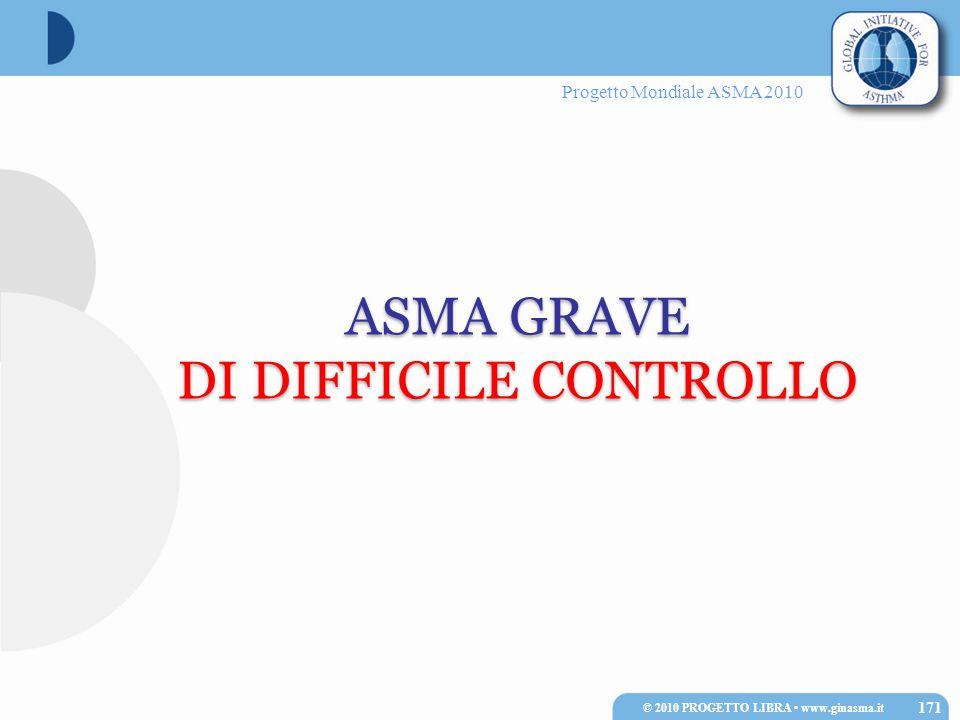 Progetto Mondiale ASMA 2010 ASMA GRAVE DI DIFFICILE CONTROLLO ASMA GRAVE DI DIFFICILE CONTROLLO 171 © 2010 PROGETTO LIBRA www.ginasma.it
