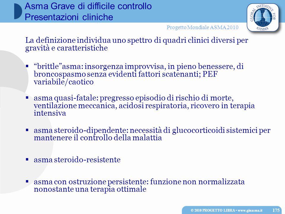 """Progetto Mondiale ASMA 2010 La definizione individua uno spettro di quadri clinici diversi per gravità e caratteristiche  """"brittle""""asma: insorgenza i"""