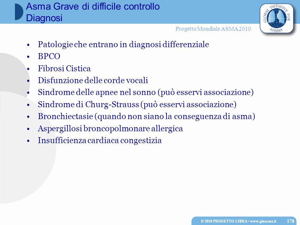 Progetto Mondiale ASMA 2010 Patologie che entrano in diagnosi differenziale BPCO Fibrosi Cistica Disfunzione delle corde vocali Sindrome delle apnee n