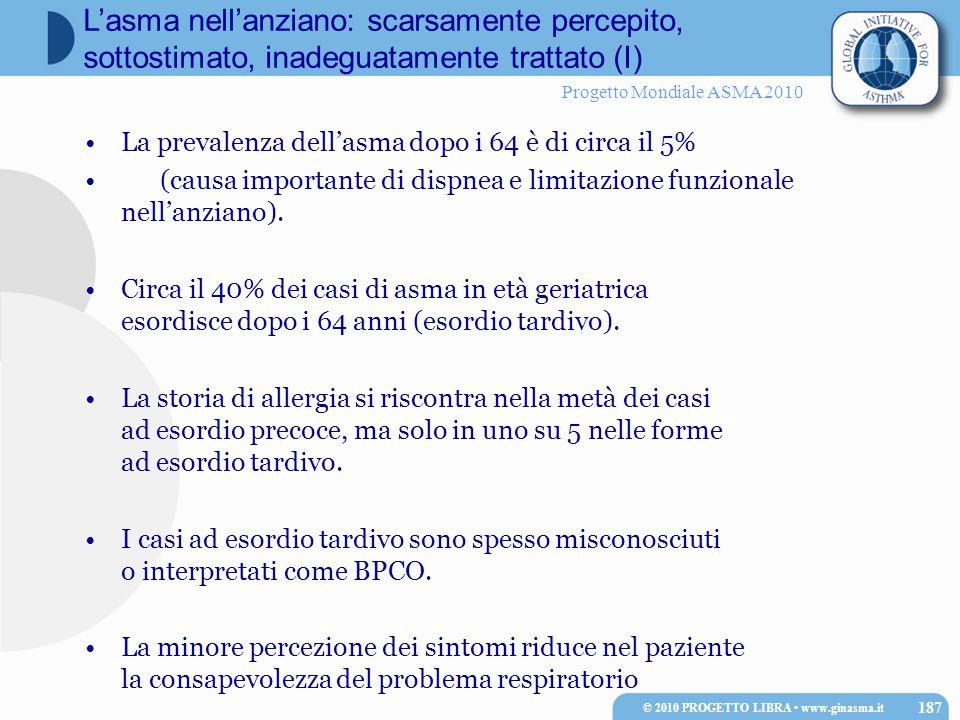 Progetto Mondiale ASMA 2010 La prevalenza dell'asma dopo i 64 è di circa il 5% (causa importante di dispnea e limitazione funzionale nell'anziano).