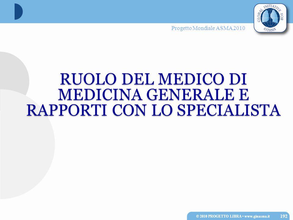 Progetto Mondiale ASMA 2010 RUOLO DEL MEDICO DI MEDICINA GENERALE E RAPPORTI CON LO SPECIALISTA 192 © 2010 PROGETTO LIBRA www.ginasma.it