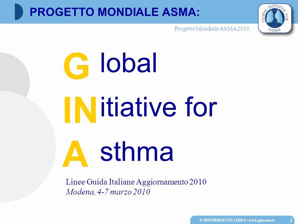 Progetto Mondiale ASMA 2010 Spirometria (possibile anche in bambini di 3-5 anni); in alternativa RINT Test di reversibilità (incremento FEV1 ≥ 12% rispetto al basale); da considerare anche in soggetti con FEV1 nella norma Il test da sforzo è facilmente applicabile in età pediatrica (più specifico ma meno sensibile rispetto al test con metacolina) © 2010 PROGETTO LIBRA www.ginasma.it 153 Diagnosi di asma nel bambino: prove di funzionalità respiratoria
