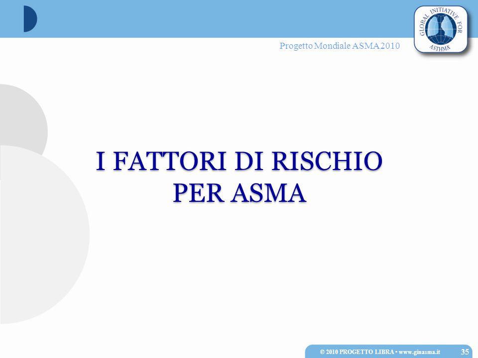 Progetto Mondiale ASMA 2010 I FATTORI DI RISCHIO PER ASMA I FATTORI DI RISCHIO PER ASMA 35 © 2010 PROGETTO LIBRA www.ginasma.it