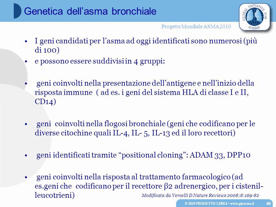 Progetto Mondiale ASMA 2010 I geni candidati per l'asma ad oggi identificati sono numerosi (più di 100) e possono essere suddivisi in 4 gruppi: geni c
