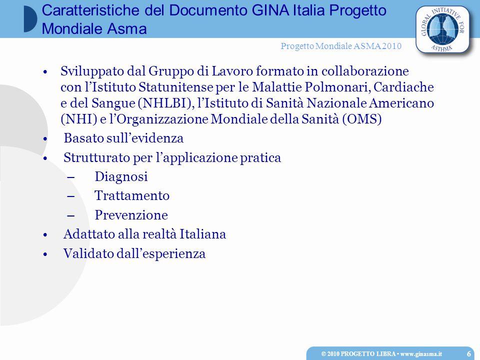 Progetto Mondiale ASMA 2010 de Marco et al, Clin Exp Allergy 2002 ISAYA 1998/00 Totale prevalenza 3.6 ( 3.3-3.9) SUBCONTINENTAL E 3.3 (3,0-3,6) MEDITERRANEA 4.2 (3.7-4.8) * p<0.001 0 1 2 3 4 5 6 7 FEPVSASTOUDVRPISSSR Prevalenza (95%CI) © 2010 PROGETTO LIBRA www.ginasma.it 17 Prevalenza degli attacchi d'asma in Italia, con intervalli di confidenza (95%) Per centro e regioni climatiche (Subcontinentale versus Mediterranea)