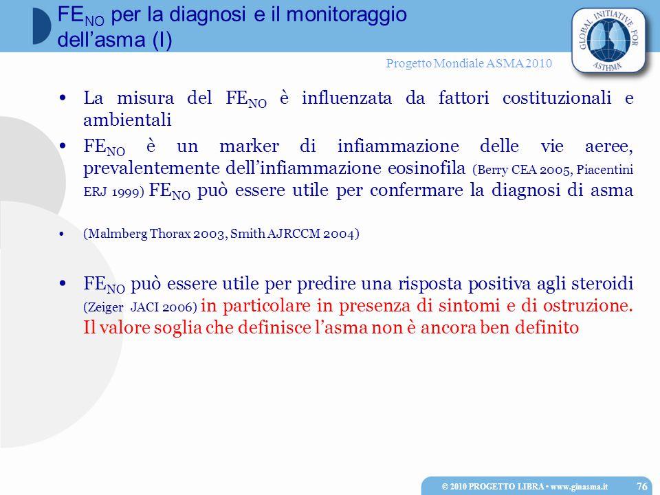 Progetto Mondiale ASMA 2010 La misura del FE NO è influenzata da fattori costituzionali e ambientali FE NO è un marker di infiammazione delle vie aeree, prevalentemente dell'infiammazione eosinofila (Berry CEA 2005, Piacentini ERJ 1999) FE NO può essere utile per confermare la diagnosi di asma (Malmberg Thorax 2003, Smith AJRCCM 2004) FE NO può essere utile per predire una risposta positiva agli steroidi (Zeiger JACI 2006) in particolare in presenza di sintomi e di ostruzione.