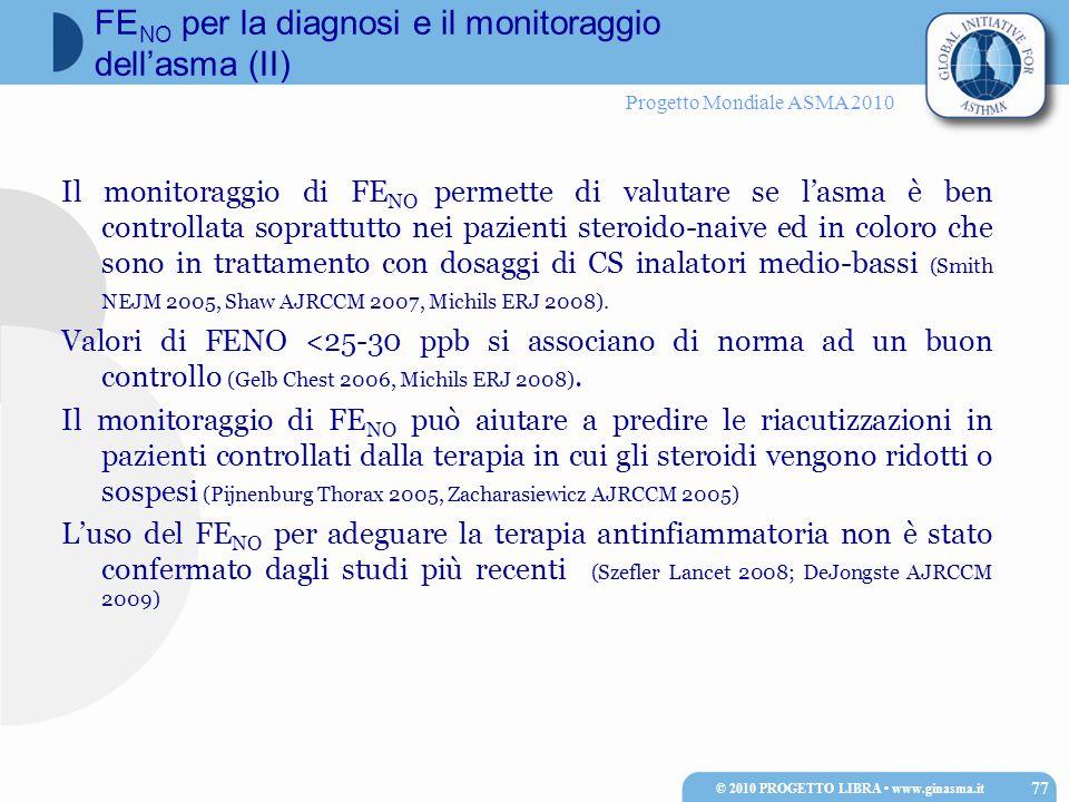 Progetto Mondiale ASMA 2010 FE NO per la diagnosi e il monitoraggio dell'asma (II) Il monitoraggio di FE NO permette di valutare se l'asma è ben controllata soprattutto nei pazienti steroido-naive ed in coloro che sono in trattamento con dosaggi di CS inalatori medio-bassi (Smith NEJM 2005, Shaw AJRCCM 2007, Michils ERJ 2008).