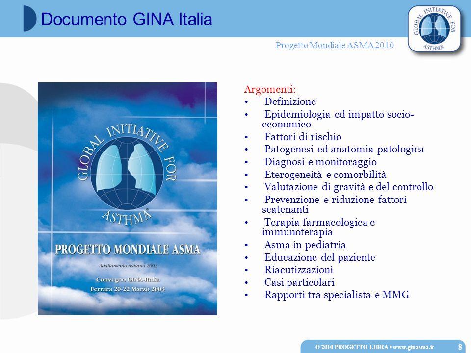 Progetto Mondiale ASMA 2010  Fattori genetici  Molti polimorfismi genetici si sono dimostrati associati alla comparsa dell'asma, ma nessuno di questi, da solo o in combinazione, è capace di predire la comparsa della malattia  Atopia  Solo per l'asma ad insorgenza precoce (prima dei 12 anni)  L'asma è più frequente nei maschi in età pediatrica, e nelle femmine in età adulta © 2010 PROGETTO LIBRA www.ginasma.it 39 Fattori individuali di rischio per l'insorgenza dell'asma