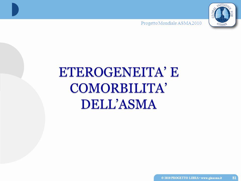 Progetto Mondiale ASMA 2010 ETEROGENEITA' E COMORBILITA' DELL'ASMA 81 © 2010 PROGETTO LIBRA www.ginasma.it