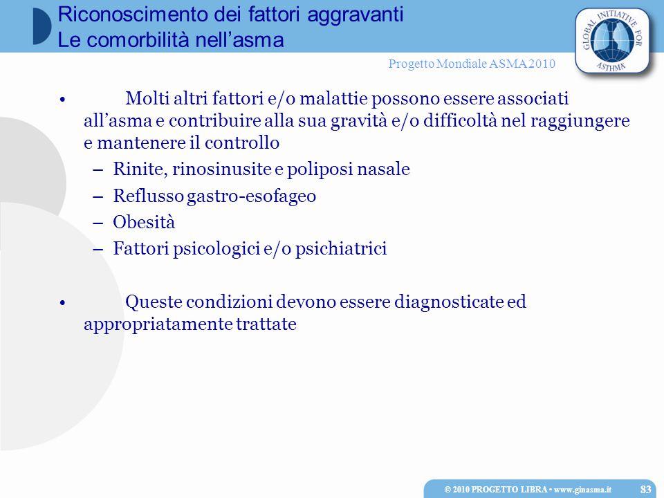 Progetto Mondiale ASMA 2010 Molti altri fattori e/o malattie possono essere associati all'asma e contribuire alla sua gravità e/o difficoltà nel raggi