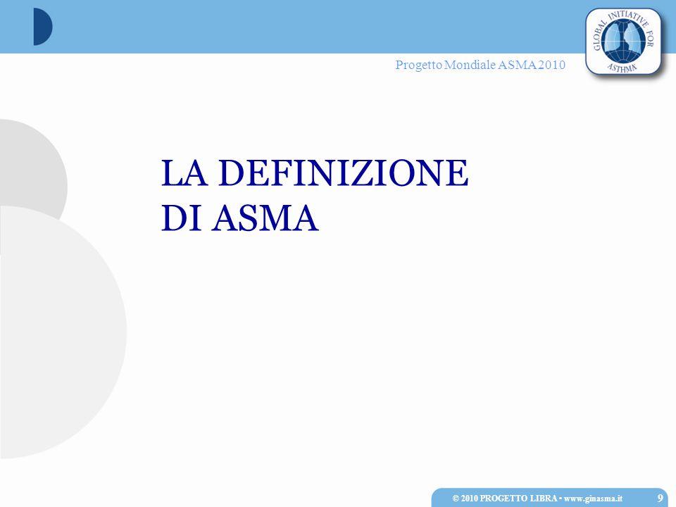 Progetto Mondiale ASMA 2010 Il test di provocazione bronchiale con metacolina, per scarsità di effetti collaterali e buona riproducibilità, è il metodo più usato per lo studio della reattività bronchiale.