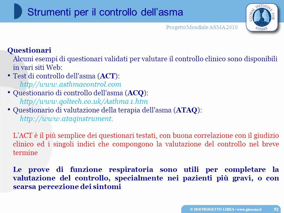 Progetto Mondiale ASMA 2010 Strumenti per il controllo dell'asma Questionari Alcuni esempi di questionari validati per valutare il controllo clinico sono disponibili in vari siti Web: Test di controllo dell asma (ACT): http//www.asthmacontrol.com Questionario di controllo dell asma (ACQ): http//www.qoltech.co.uk/Asthma 1.htm Questionario di valutazione della terapia dell asma (ATAQ): http://www.ataqinstrument.