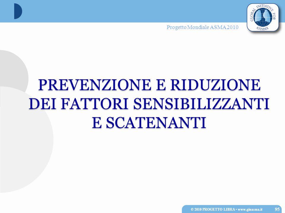 Progetto Mondiale ASMA 2010 PREVENZIONE E RIDUZIONE DEI FATTORI SENSIBILIZZANTI E SCATENANTI 95 © 2010 PROGETTO LIBRA www.ginasma.it