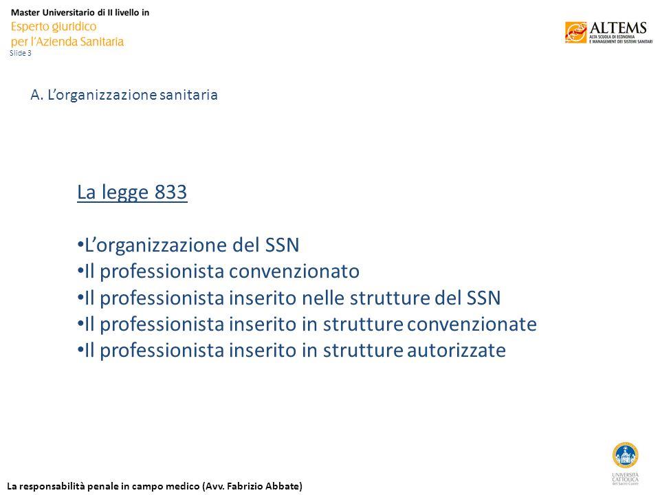La responsabilità penale in campo medico (Avv. Fabrizio Abbate) Slide 3 A.