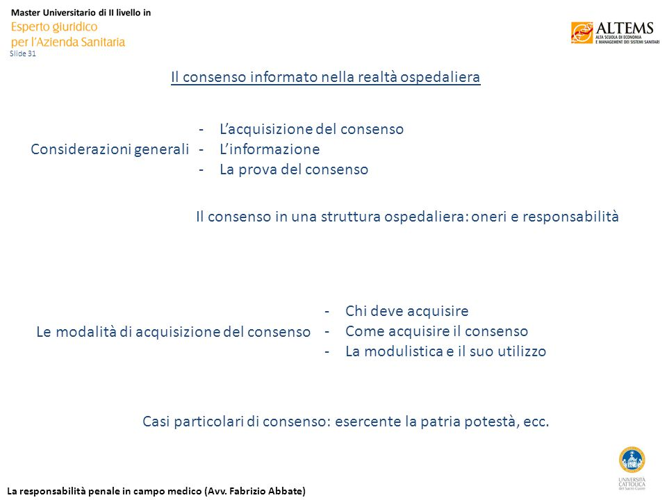 La responsabilità penale in campo medico (Avv.