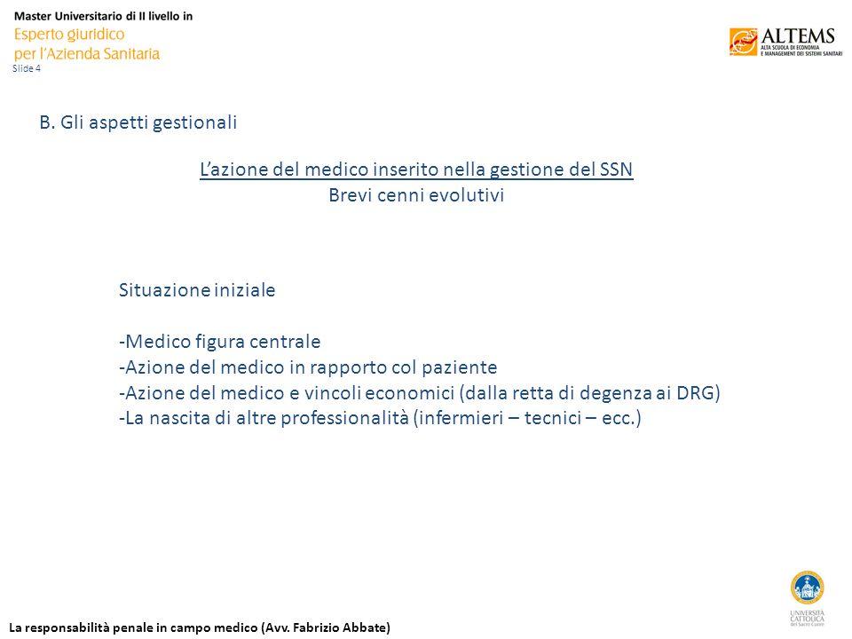 La responsabilità penale in campo medico (Avv. Fabrizio Abbate) Slide 4 B.