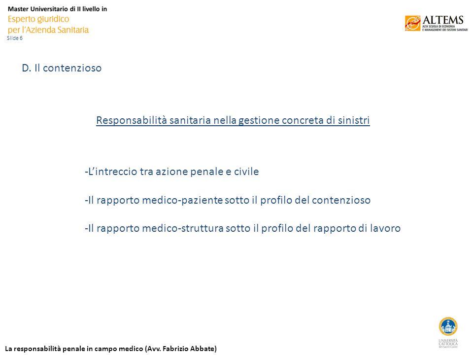 La responsabilità penale in campo medico (Avv. Fabrizio Abbate) Slide 6 D.