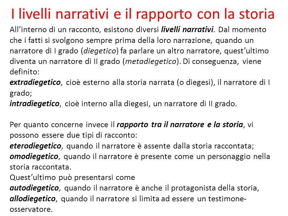 I livelli narrativi e il rapporto con la storia All'interno di un racconto, esistono diversi livelli narrativi.