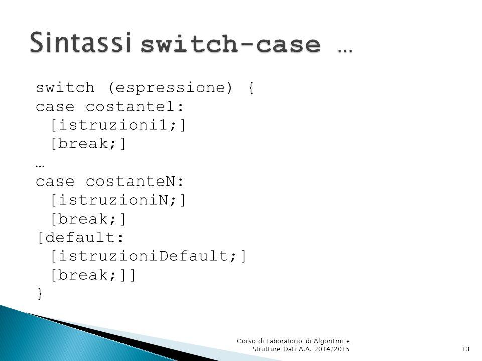 switch (espressione) { case costante1: [istruzioni1;] [break;] … case costanteN: [istruzioniN;] [break;] [default: [istruzioniDefault;] [break;]] } Corso di Laboratorio di Algoritmi e Strutture Dati A.A.
