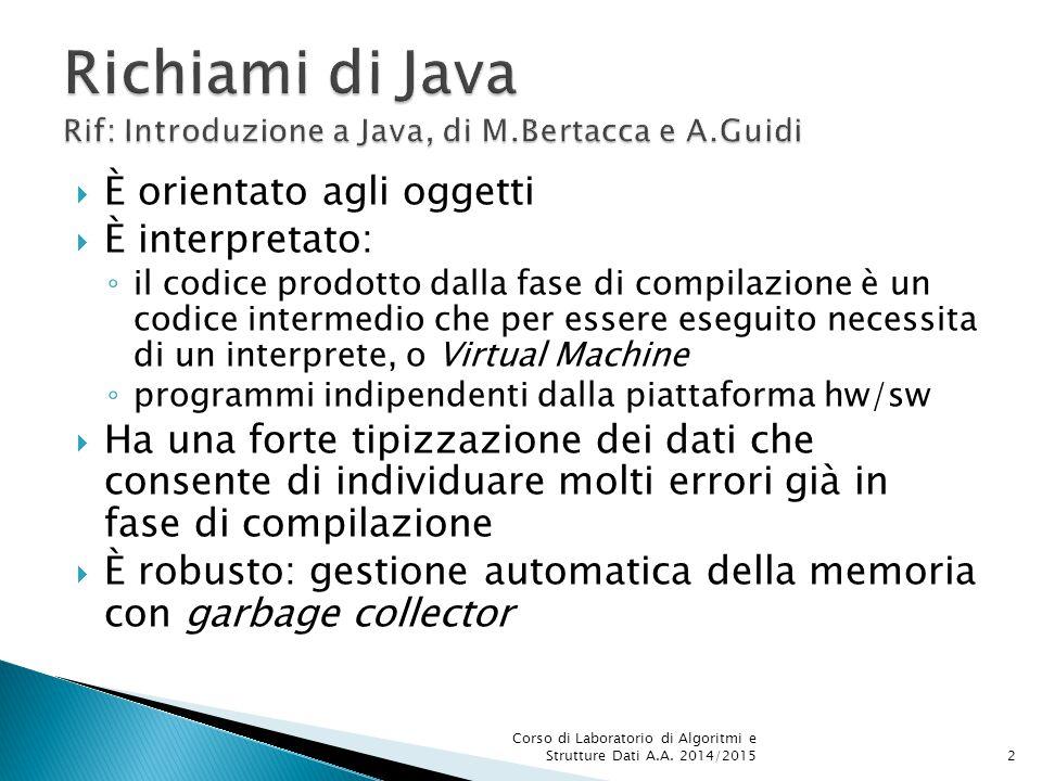  In Java ogni classe pubblica deve essere dichiarata in un file sorgente con lo stesso nome della classe e suffisso.java  Es: Tempo.java  Nell stesso file è possibile dichiarare altre classi che non saranno visibili al di fuori del file stesso  Il compilatore genera un modulo con lo stesso nome del file sorgente e suffisso.class Corso di Laboratorio di Algoritmi e Strutture Dati A.A.