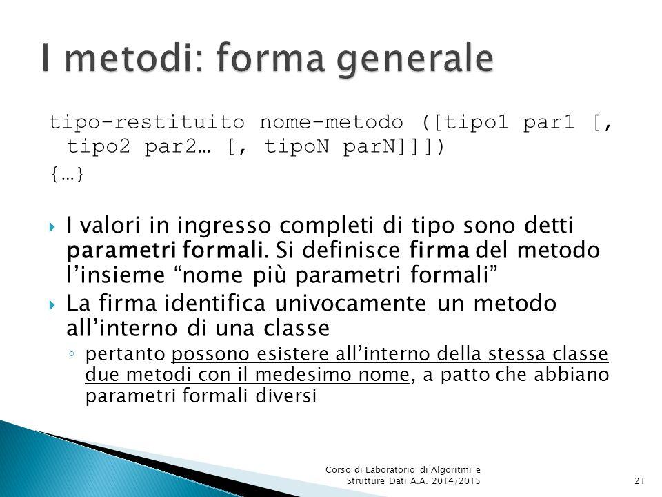 tipo-restituito nome-metodo ([tipo1 par1 [, tipo2 par2… [, tipoN parN]]]) {… }  I valori in ingresso completi di tipo sono detti parametri formali.