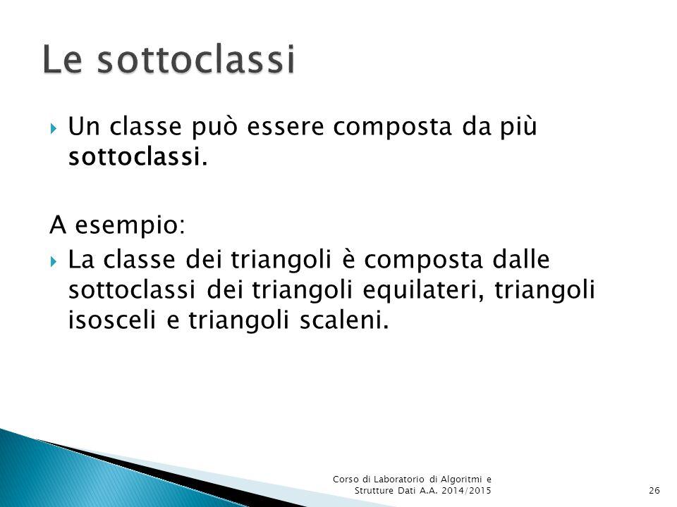  Un classe può essere composta da più sottoclassi.
