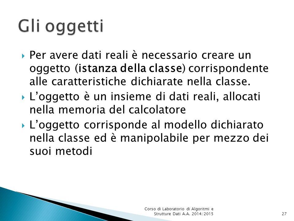  Per avere dati reali è necessario creare un oggetto (istanza della classe) corrispondente alle caratteristiche dichiarate nella classe.