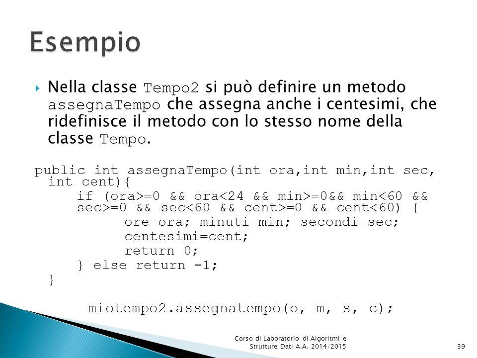  Nella classe Tempo2 si può definire un metodo assegnaTempo che assegna anche i centesimi, che ridefinisce il metodo con lo stesso nome della classe Tempo.