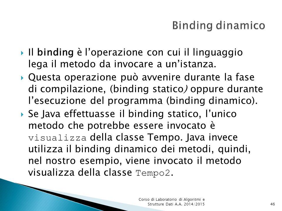  Il binding è l'operazione con cui il linguaggio lega il metodo da invocare a un'istanza.