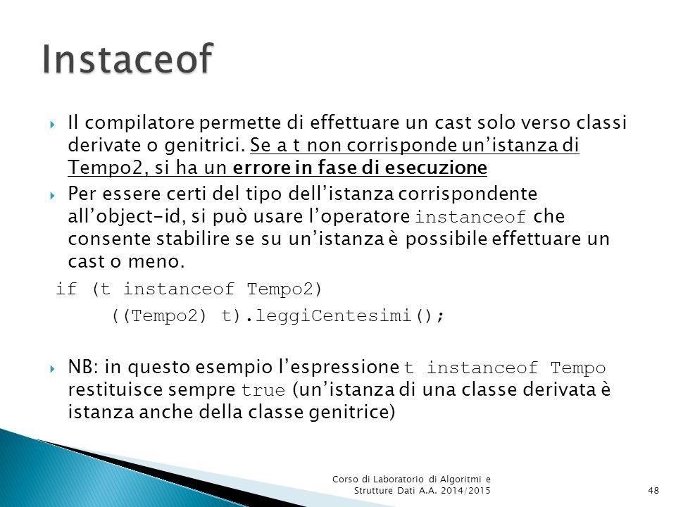  Il compilatore permette di effettuare un cast solo verso classi derivate o genitrici.