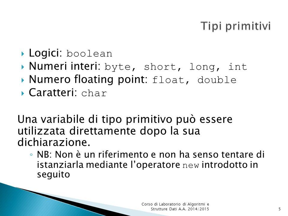  Logici: boolean  Numeri interi: byte, short, long, int  Numero floating point: float, double  Caratteri: char Una variabile di tipo primitivo può essere utilizzata direttamente dopo la sua dichiarazione.