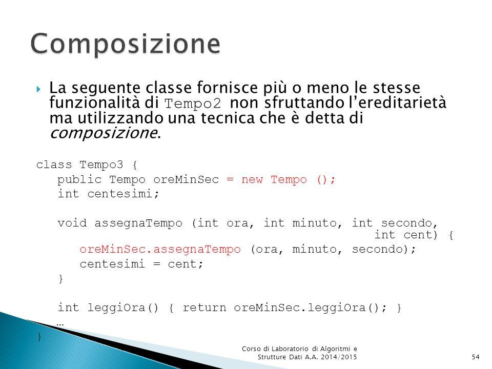  La seguente classe fornisce più o meno le stesse funzionalità di Tempo2 non sfruttando l'ereditarietà ma utilizzando una tecnica che è detta di composizione.