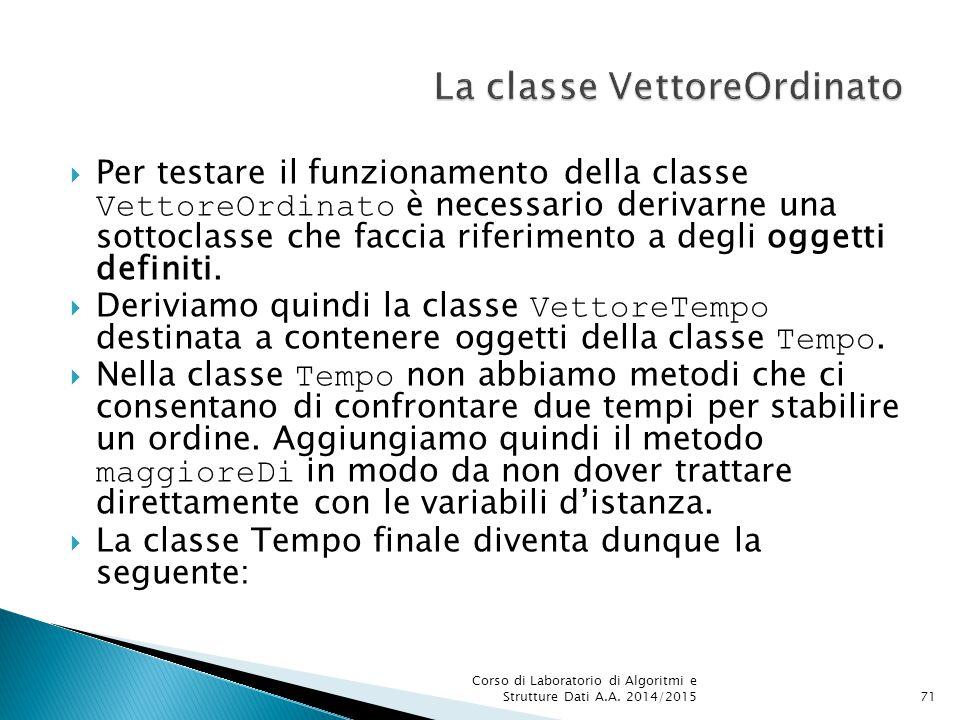  Per testare il funzionamento della classe VettoreOrdinato è necessario derivarne una sottoclasse che faccia riferimento a degli oggetti definiti.