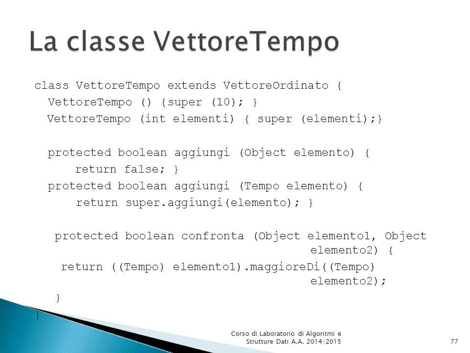 class VettoreTempo extends VettoreOrdinato { VettoreTempo () {super (10); } VettoreTempo (int elementi) { super (elementi);} protected boolean aggiungi (Object elemento) { return false; } protected boolean aggiungi (Tempo elemento) { return super.aggiungi(elemento); } protected boolean confronta (Object elemento1, Object elemento2) { return ((Tempo) elemento1).maggioreDi((Tempo) elemento2); } Corso di Laboratorio di Algoritmi e Strutture Dati A.A.