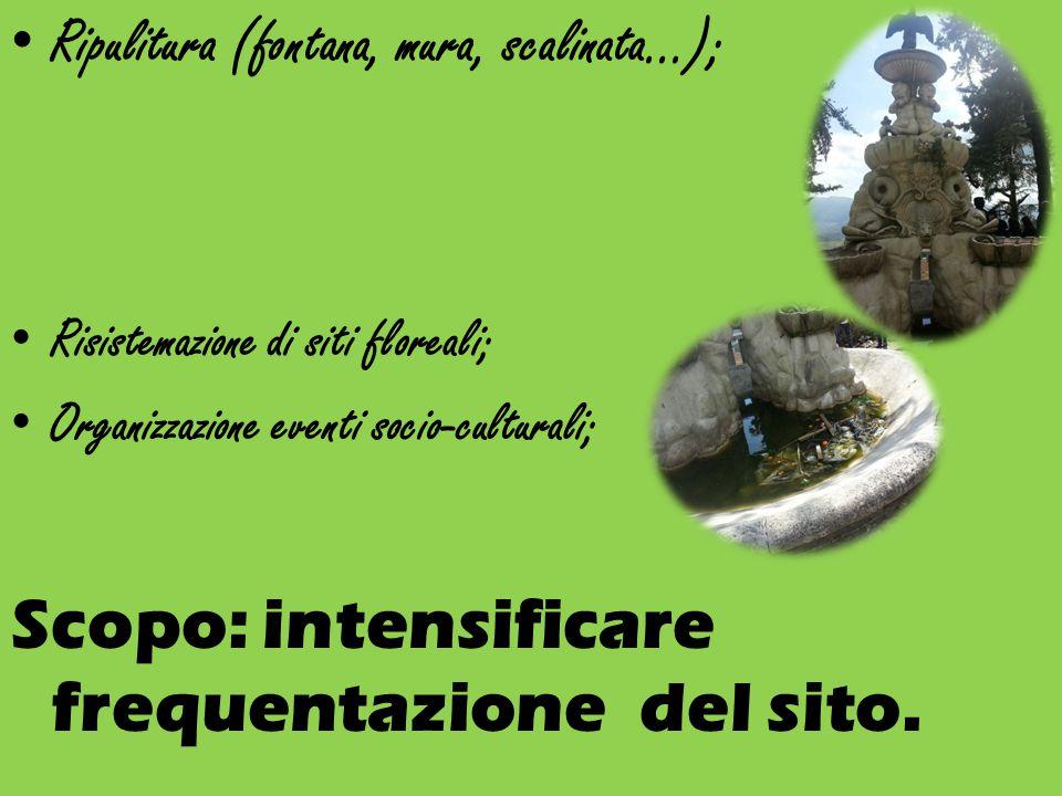 Ripulitura (fontana, mura, scalinata…); Risistemazione di siti floreali; Organizzazione eventi socio-culturali; Scopo: intensificare frequentazione del sito.