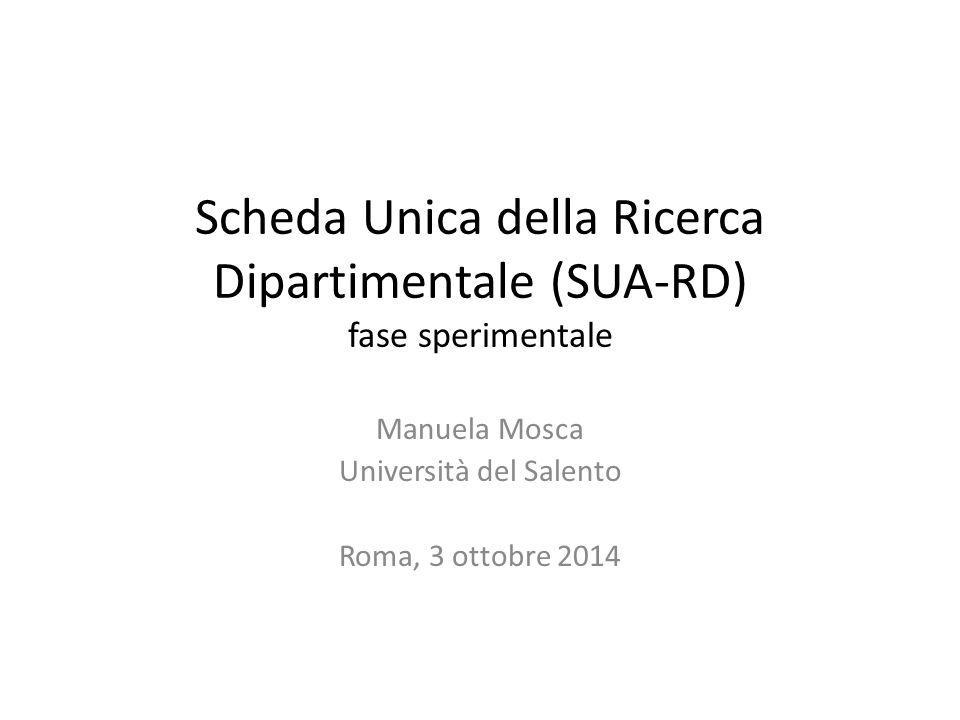 Scheda Unica della Ricerca Dipartimentale (SUA-RD) fase sperimentale Manuela Mosca Università del Salento Roma, 3 ottobre 2014